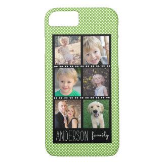 白い点との家族写真のコラージュの緑 iPhone 8/7ケース