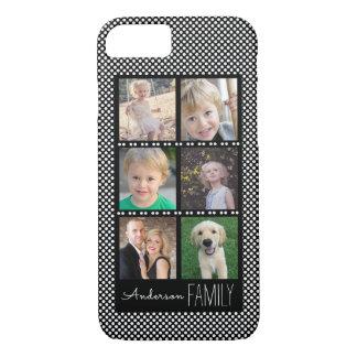 白い点との6つの写真フレームの黒 iPhone 8/7ケース