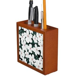 白い熱帯花模様 ペンスタンド