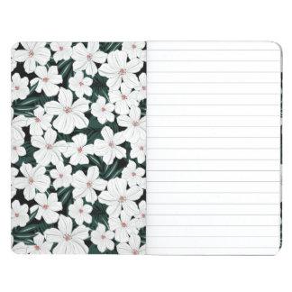 白い熱帯花模様 ポケットジャーナル