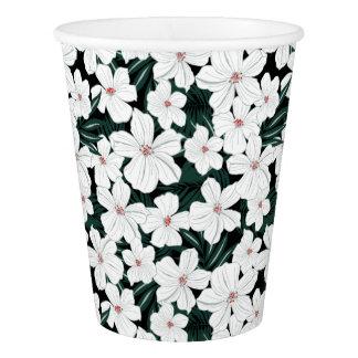 白い熱帯花模様 紙コップ