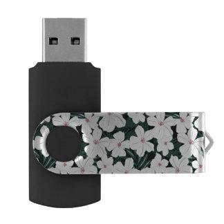 白い熱帯花模様 USBフラッシュドライブ