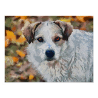 白い犬の絵画 ポスター