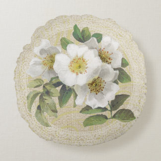 白い犬バラ及びレースの花のヴィンテージの枕 ラウンドクッション