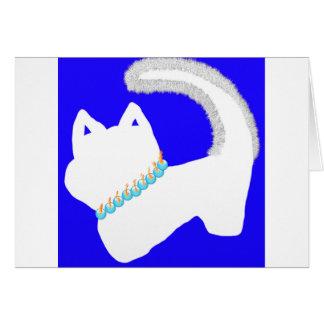 白い猫が付いている朝の(ユダヤ教)メノラーのハヌカーカード グリーティングカード