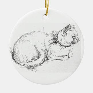 白い猫のアートワークのオーナメント セラミックオーナメント