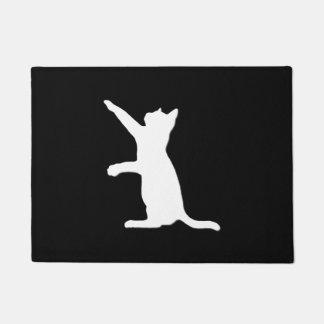 白い猫のシルエット ドアマット