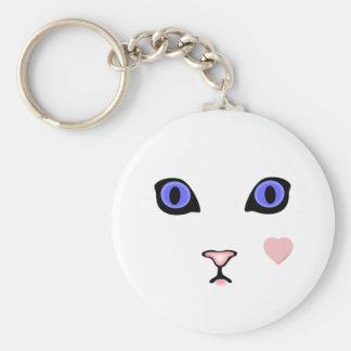 白い猫のハートのキーホルダー キーホルダー