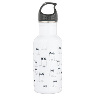白い猫の身に着けているガラス 532ML ウォーターボトル