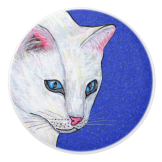 白い猫の青い目 セラミックノブ