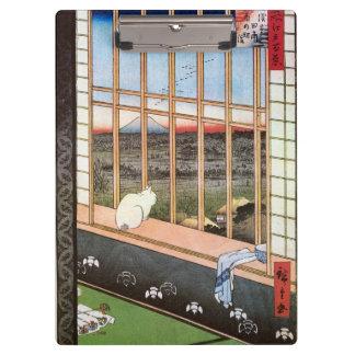 白い猫は窓、Utagawa Hiroshigeによって坐ります クリップボード