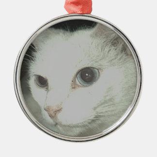 白い猫 メタルオーナメント