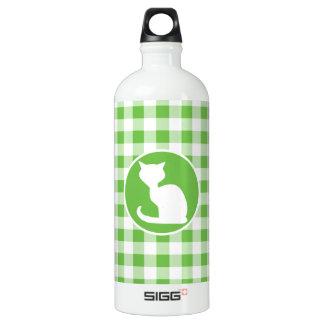 白い猫; 緑のギンガム ウォーターボトル