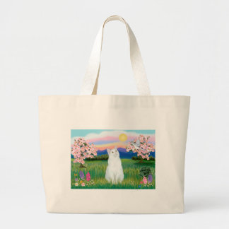 白い猫-花 ラージトートバッグ
