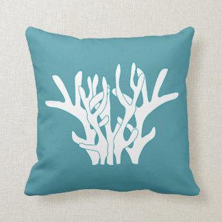 白い珊瑚の青緑色の装飾用クッション クッション
