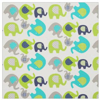 白い生地の灰色の青緑象 ファブリック