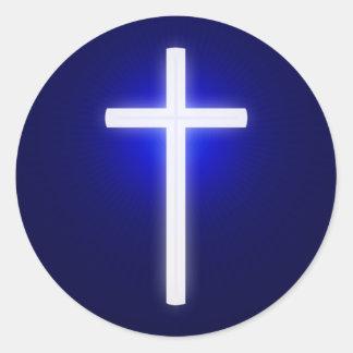 白い白熱十字の|キリスト教の濃紺 ラウンドシール