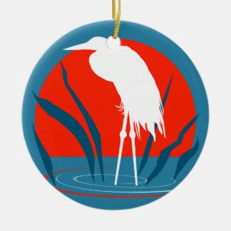 白い白鷺のクリスマスのオーナメント セラミックオーナメント