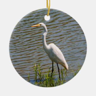 白い白鷺の熱帯鳥の写真 セラミックオーナメント