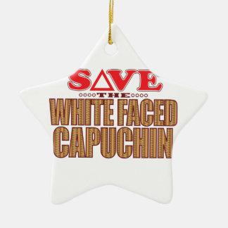 白い直面されたCapuchinの保存 セラミックオーナメント
