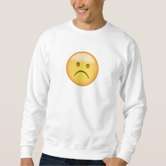 白い眉をひそめる顔Emoji スウェットシャツ