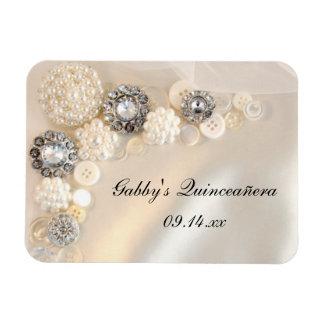 白い真珠およびダイヤモンドボタンQuinceañera マグネット