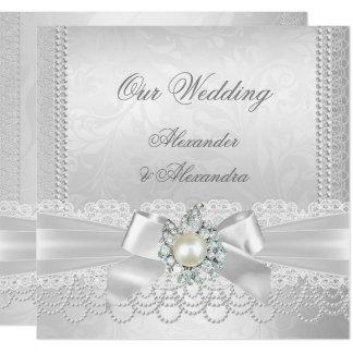 白い真珠のレースのダマスク織のダイヤモンドの銀の結婚 カード