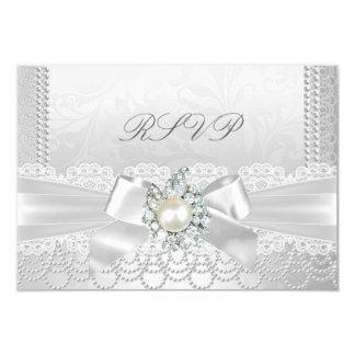 白い真珠のレースのダマスク織のダイヤモンドを結婚するRSVP カード