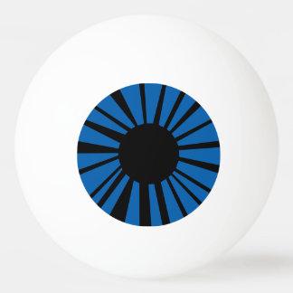 白い眼球の黒い生徒が付いている濃紺の目 卓球ボール