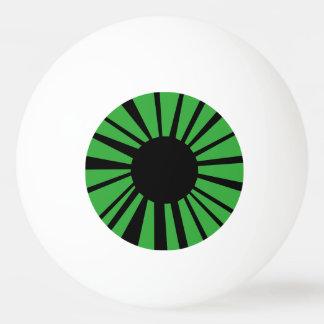 白い眼球の黒い生徒が付いている緑の瞳 卓球ボール