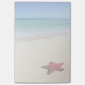 白い砂のビーチの赤いヒトデ ポストイット