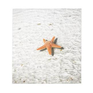 白い砂浜のオレンジヒトデ ノートパッド