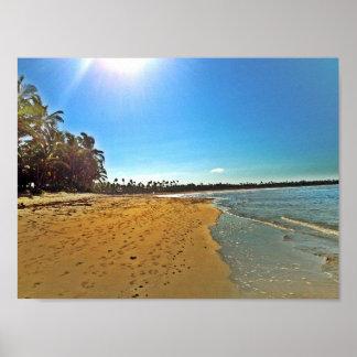 白い砂熱帯ビーチ場面ポスター ポスター