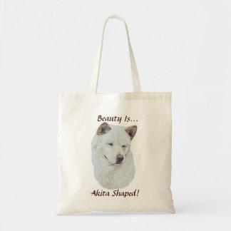 白い秋田の現実主義者犬のポートレートの芸術 トートバッグ