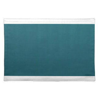 白い端とのティール(緑がかった色)のランチョンマット ランチョンマット