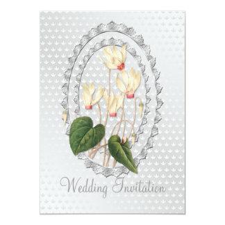 白い結婚のCyclamenWeddingの招待状カード 12.7 X 17.8 インビテーションカード