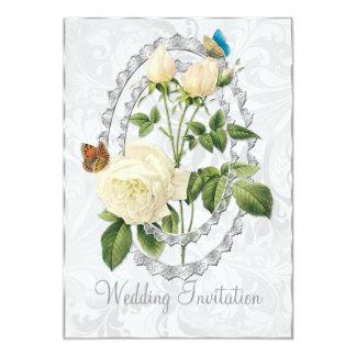 白い結婚式のばら色のPosyの結婚式招待状カード カード