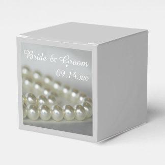白い結婚式の真珠 フェイバーボックス