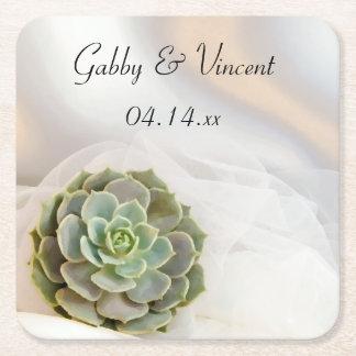 白い結婚式の緑のSucculent スクエアペーパーコースター