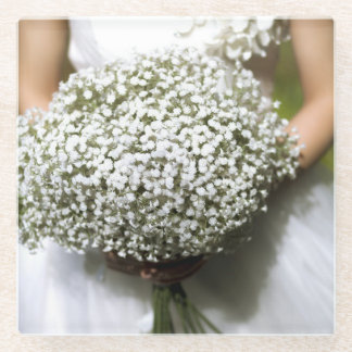 白い結婚式の花の花束 ガラスコースター