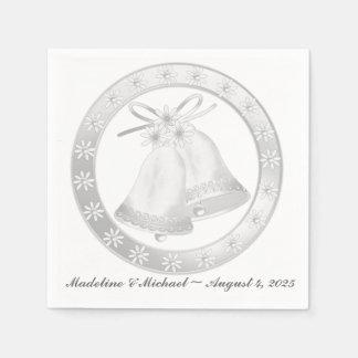 白い結婚式の鐘 スタンダードカクテルナプキン