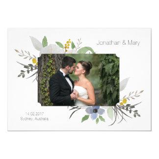 白い結婚式招待状カード保存日付の自然 カード
