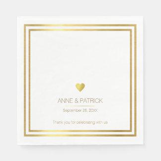 白い結婚披露宴のシンプルで及びエレガントで模造のな金ゴールド スタンダードランチョンナプキン