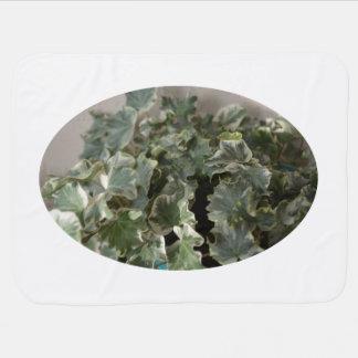白い緑のキヅタのかわいらしいプラント設計 ベビー ブランケット