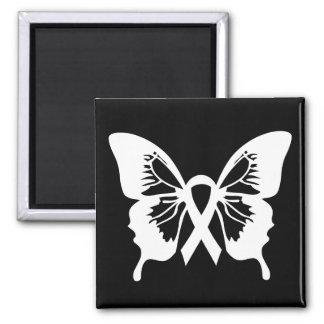 白い肺癌の蝶正方形の磁石 マグネット