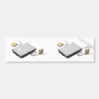 白い背景で壊れるハードディスクの保護 バンパーステッカー