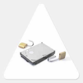 白い背景で壊れるハードディスクの保護 三角形シール