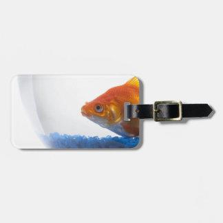 白い背景のボールの金魚 ラゲッジタグ