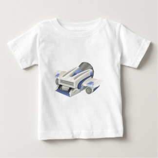 白い背景のモダンな宇宙船の飛行 ベビーTシャツ