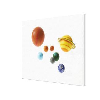 白い背景の太陽系の惑星 キャンバスプリント